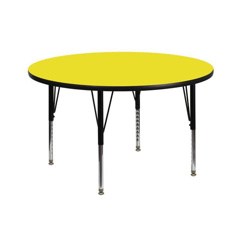 Flash Furniture XU-A42-RND-YEL-H-P-GG 42'' Round Activity Table with 1.25'' Thick High Pressure Yellow Laminate Top and Height Adjustable Pre-School Legs - Peazz Furniture