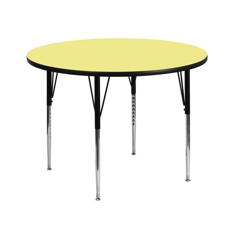 Flash Furniture XU-A42-RND-YEL-T-A-GG 42'' Round Activity Table with Yellow Thermal Fused Laminate Top and Standard Height Adjustable Legs - Peazz Furniture