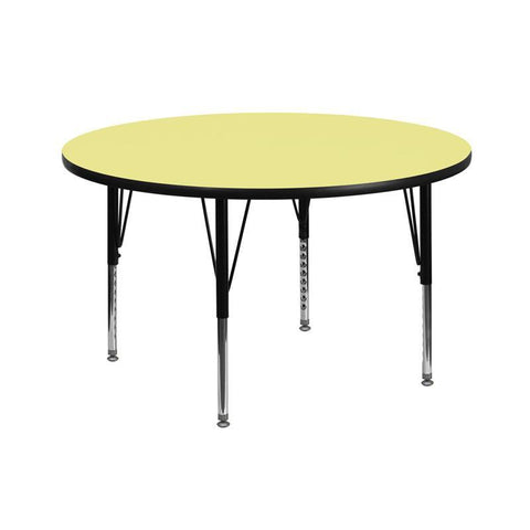 Flash Furniture XU-A42-RND-YEL-T-P-GG 42'' Round Activity Table with Yellow Thermal Fused Laminate Top and Height Adjustable Pre-School Legs - Peazz Furniture