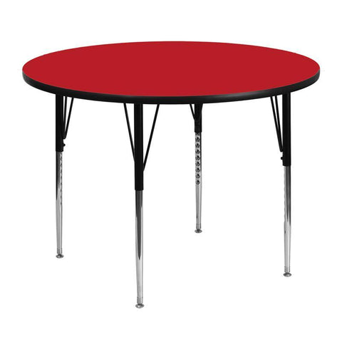Flash Furniture XU-A48-RND-RED-H-A-GG 48'' Round Activity Table with 1.25'' Thick High Pressure Red Laminate Top and Standard Height Adjustable Legs - Peazz Furniture