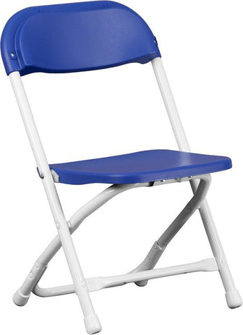 Flash Furniture Y-KID-BL-GG Kids Blue Plastic Folding Chair - Peazz Furniture