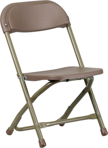 Flash Furniture Y-KID-BN-GG Kids Brown Plastic Folding Chair - Peazz Furniture