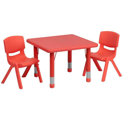 Flash Furniture YU-YCX-0023-2-SQR-TBL-RED-R-GG 24'' Square Adjustable Red Plastic Activity Table Set with 2 School Stack Chairs - Peazz Furniture