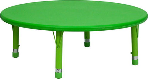 45'' Round Height Adjustable Round Green Plastic Activity Table YU-YCX-005-2-ROUND-TBL-GREEN-GG by Flash Furniture - Peazz Furniture