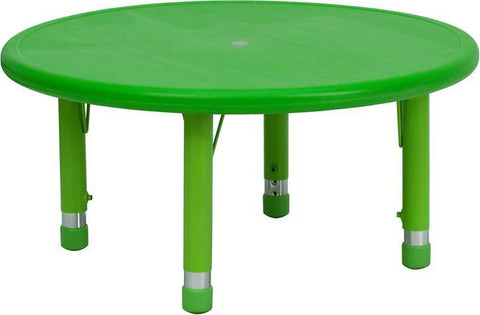 33'' Round Height Adjustable Round Green Plastic Activity Table YU-YCX-007-2-ROUND-TBL-GREEN-GG by Flash Furniture - Peazz Furniture
