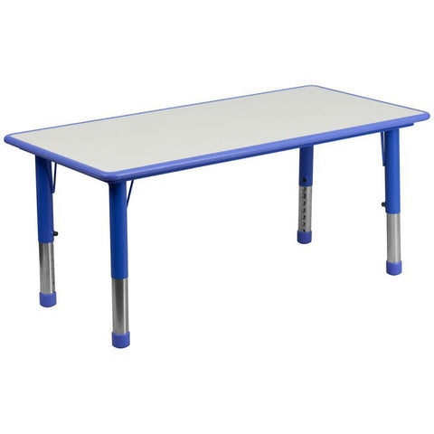 Flash Furniture YU-YCY-060-RECT-TBL-BLUE-GG 23.625''W x 47.25''L Height Adjustable Rectangular Blue Plastic Activity Table with Grey Top - Peazz Furniture