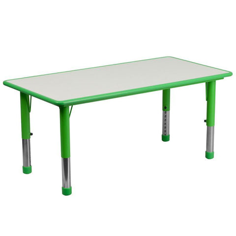 Flash Furniture YU-YCY-060-RECT-TBL-GREEN-GG 23.625''W x 47.25''L Height Adjustable Rectangular Green Plastic Activity Table with Grey Top - Peazz Furniture