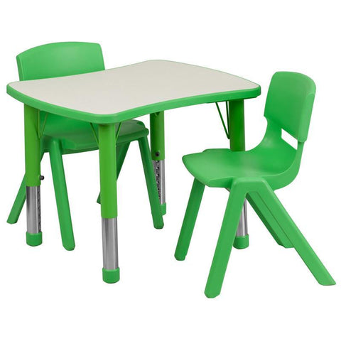 Flash Furniture YU-YCY-098-0032-RECT-TBL-GREEN-GG 21.875''W x 26.625''L Adjustable Rectangular Green Plastic Activity Table Set with 2 School Stack Chairs - Peazz Furniture
