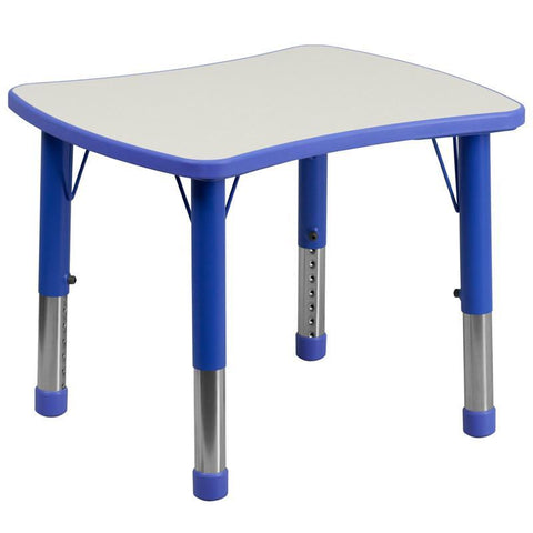 Flash Furniture YU-YCY-098-RECT-TBL-BLUE-GG 21.875''W x 26.625''L Height Adjustable Rectangular Blue Plastic Activity Table with Grey Top - Peazz Furniture