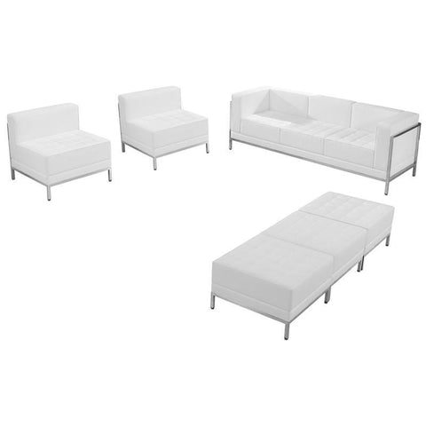 Flash Furniture ZB-IMAG-SET20-WH-GG HERCULES Imagination Series White Leather Sofa, Chair & Ottoman Set - Peazz Furniture