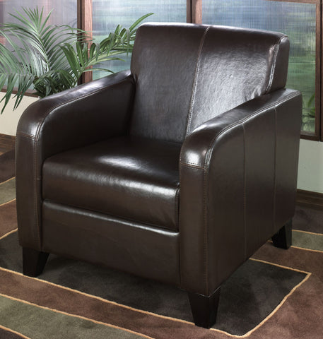 1400 Brown Leather Club Chair by Armen Living - Peazz Furniture
