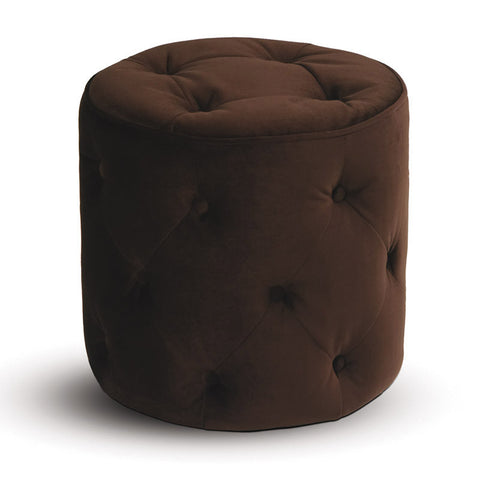 Office Star Ave Six CVS905-C12 Curves Tufted Round Ottoman in Chocolate Velvet - Peazz Furniture