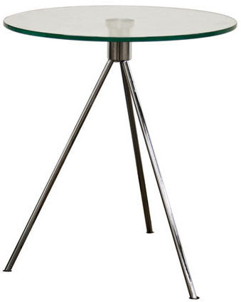 Wholesale Interiors TTT-01 Triplet Round Glass Top End Table with Tripod Base - Each - Peazz Furniture