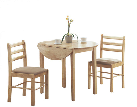 "Monarch Specialties I 1006 Natural 3Pcs Dining Set With A 36""Dia Drop Leaf Table - Peazz Furniture"