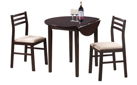 "Monarch Specialties I 1009 Cappuccino 3Pcs Dining Set With A 36""Dia Drop Leaf Table - Peazz Furniture"