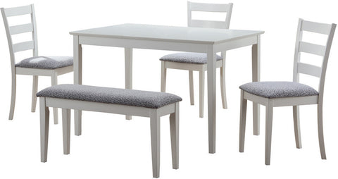 Monarch Specialties I 1210 White 5Pcs Dining Set With A Bench And 3 Side Chairs - Peazz Furniture