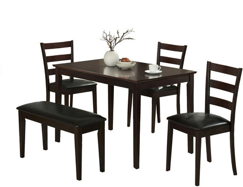 Monarch Specialties I 1211 Cappuccino 5Pcs Dining Set With A Bench And 3 Side Chairs - Peazz Furniture