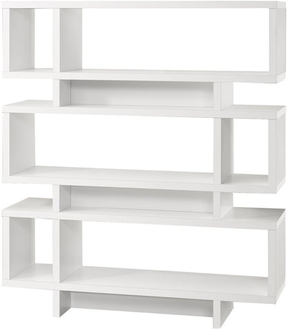 "Monarch Specialties I 2532 White Hollow-Core 55""H Modern Bookcase - Peazz Furniture"