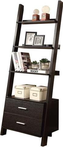 "Monarch Specialties I 2542 Cappuccino 69""H Ladder Bookcase With 2 Storage Drawers - Peazz Furniture"