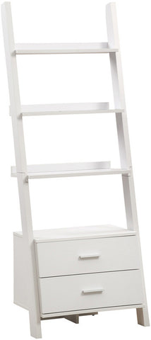 "Monarch Specialties I 2562 White 69""H Ladder Bookcase With 2 Storage Drawers - Peazz Furniture"