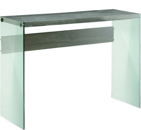 Monarch Specialties I 3055 Dark Taupe Reclaimed-Look / Tempered Glass Sofa Table - Peazz Furniture