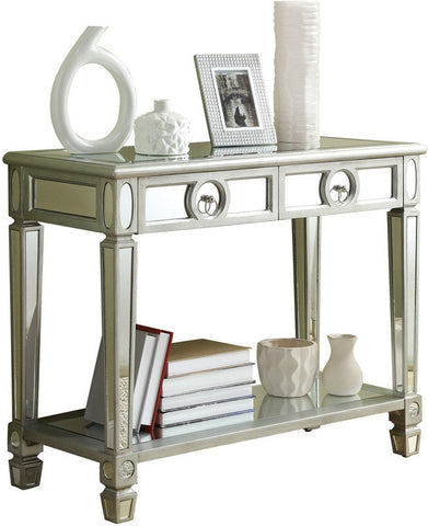 "Monarch Specialties I 3700 Brushed Silver / Mirrored 38""L Sofa Console Table - Peazz Furniture"