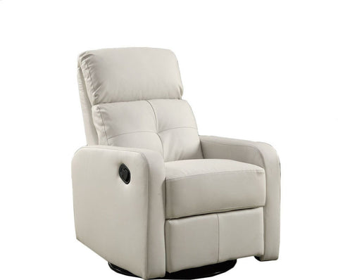 Monarch Specialties I 8085WH White Bonded Leather Swivel Glider Recliner - Peazz Furniture