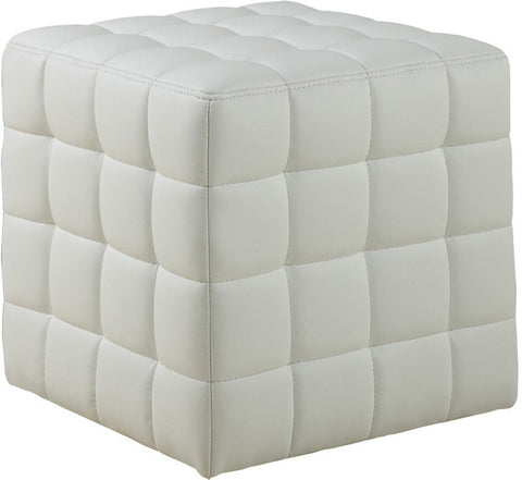 Monarch Specialties I 8978 White Leather-Look Ottoman - Peazz Furniture