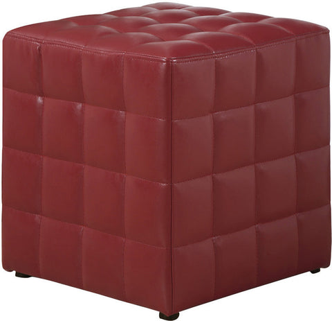 Monarch Specialties I 8979 Red Leather-Look Ottoman - Peazz Furniture
