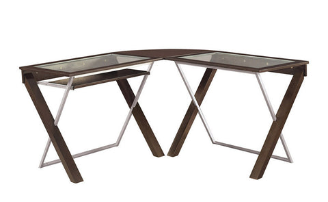 Office Star OSP Designs XT25L L-Shaped Computer Desk with Glass Top - Peazz Furniture