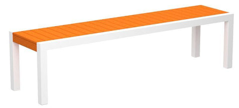 Polywood 3800-10TA MOD Bench in Gloss White Aluminum Frame / Tangerine - PolyFurnitureStore