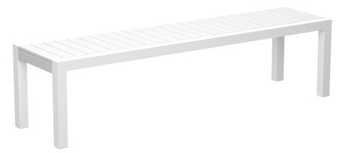 Polywood 3800-10WH MOD Bench in Gloss White Aluminum Frame / White - PolyFurnitureStore