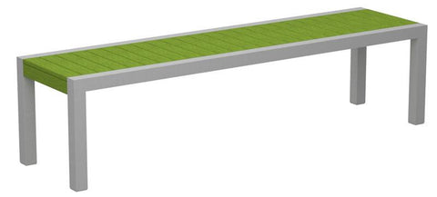 Polywood 3800-11LI MOD Bench in Textured Silver Aluminum Frame / Lime - PolyFurnitureStore