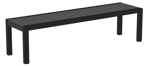 Polywood 3800-12GY MOD Bench in Textured Black Aluminum Frame / Slate Grey - PolyFurnitureStore