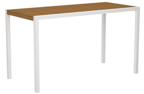 "Polywood 8302-10NT MOD 36"" x 73"" Bar Table in Gloss White Aluminum Frame / Plastique - PolyFurnitureStore"