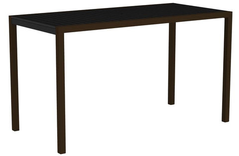 "Polywood 8302-16BL MOD 36"" x 73"" Bar Table in Textured Bronze Aluminum Frame / Black - PolyFurnitureStore"