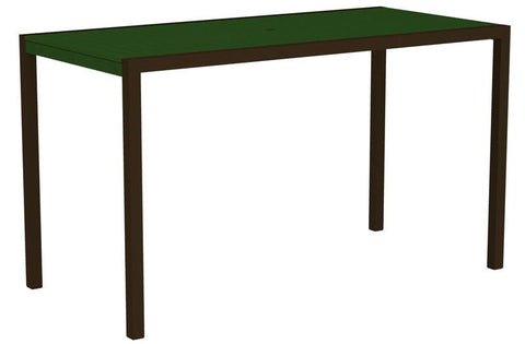 "Polywood 8302-16GR MOD 36"" x 73"" Bar Table in Textured Bronze Aluminum Frame / Green - PolyFurnitureStore"