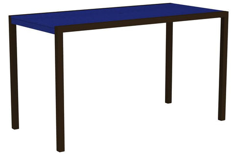 "Polywood 8302-16PB MOD 36"" x 73"" Bar Table in Textured Bronze Aluminum Frame / Pacific Blue - PolyFurnitureStore"