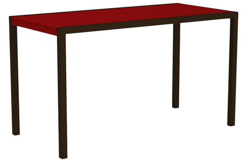 "Polywood 8302-16SR MOD 36"" x 73"" Bar Table in Textured Bronze Aluminum Frame / Sunset Red - PolyFurnitureStore"