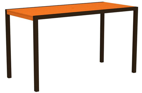 "Polywood 8302-16TA MOD 36"" x 73"" Bar Table in Textured Bronze Aluminum Frame / Tangerine - PolyFurnitureStore"