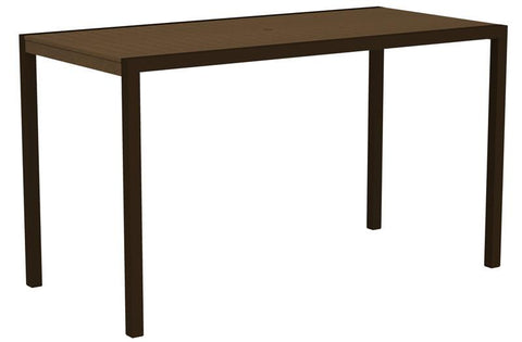 "Polywood 8302-16TE MOD 36"" x 73"" Bar Table in Textured Bronze Aluminum Frame / Teak - PolyFurnitureStore"