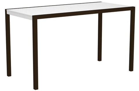 "Polywood 8302-16WH MOD 36"" x 73"" Bar Table in Textured Bronze Aluminum Frame / White - PolyFurnitureStore"