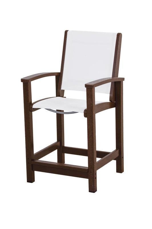 Polywood 9011-ma901 Coastal Counter Chair In Mahogany / W...