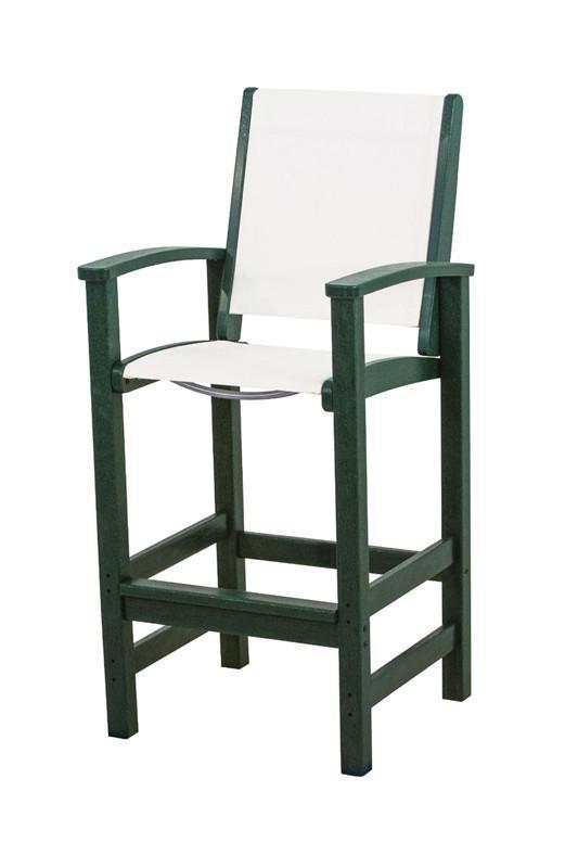 Polywood 9012-gr901 Coastal Bar Chair In Green / White Sling