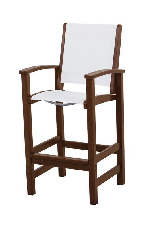 Polywood 9012-ma901 Coastal Bar Chair In Mahogany / White...