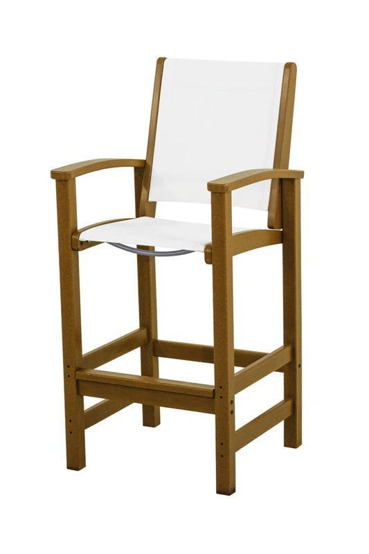 Polywood 9012-te901 Coastal Bar Chair In Teak / White Sling