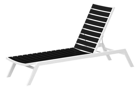 Polywood AC1-13BL Euro Chaise in Textured White Aluminum Frame / Black - PolyFurnitureStore