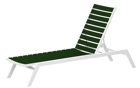 Polywood AC1-13GR Euro Chaise in Textured White Aluminum Frame / Green - PolyFurnitureStore