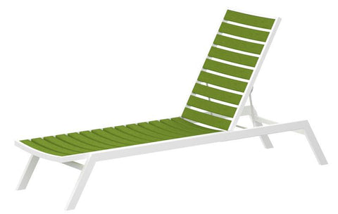 Polywood AC1-13LI Euro Chaise in Textured White Aluminum Frame / Lime - PolyFurnitureStore