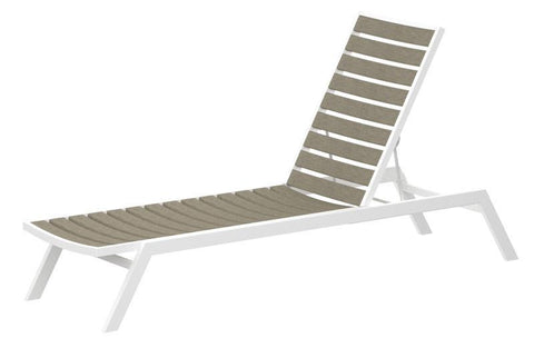 Polywood AC1-13SA Euro Chaise in Textured White Aluminum Frame / Sand - PolyFurnitureStore